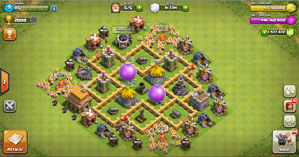 Farming Base Clash Of Clans Town Hall Level 5