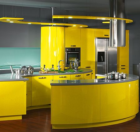 Cabinets for kitchen yellow kitchen cabinets design for Modern yellow kitchen cabinets