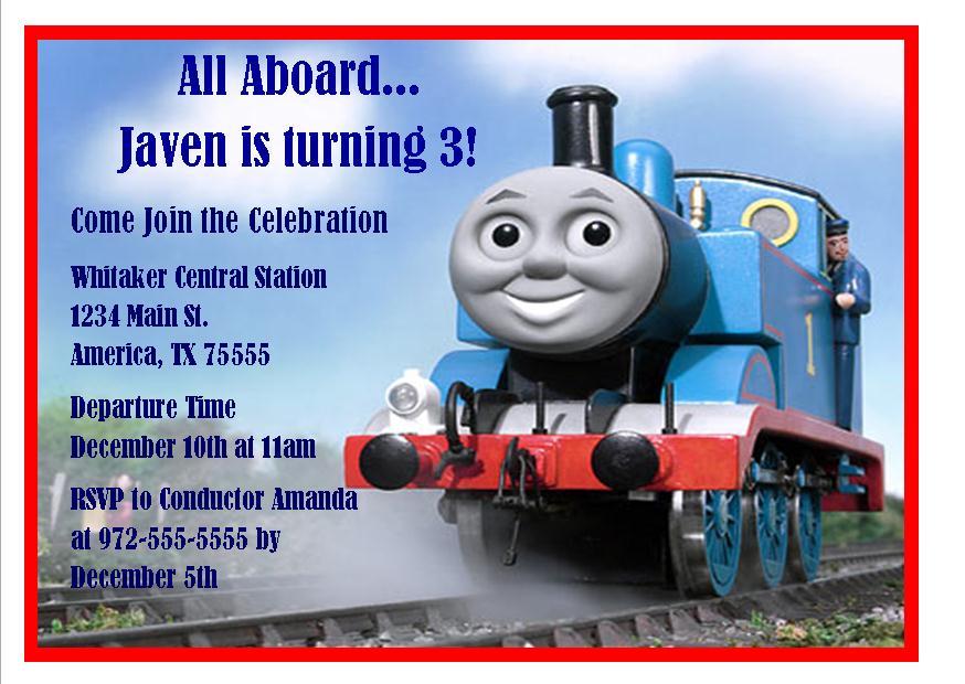 Thomas the Train Theme Birthday Party – Thomas the Train Birthday Party Invitations