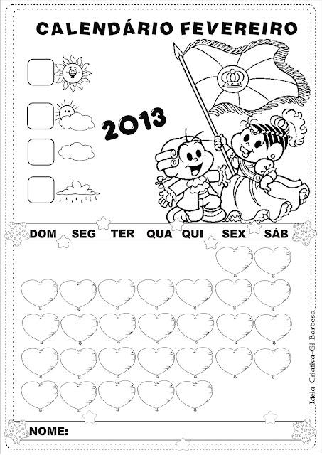 Calendário Fevereiro 2013 Turma da Mônica sem numeração