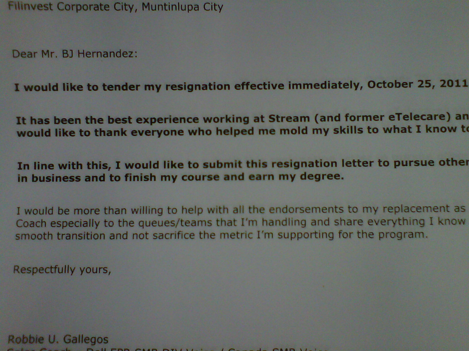 creating my resignation letter which honestly took