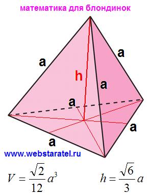 Тетраэдр. Объем тетраэдра, высота тетраэдра формулы. Математика для блондинок.