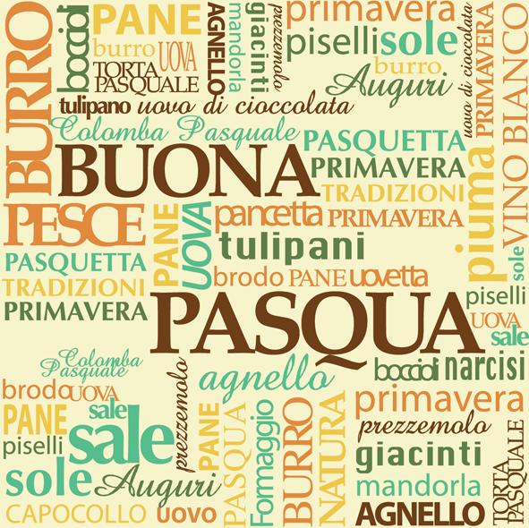 Vintage Italian Food Easter Postcard