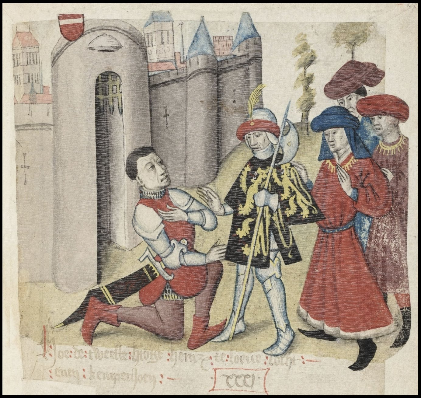 nobles outside a castle in Brabant chronicle