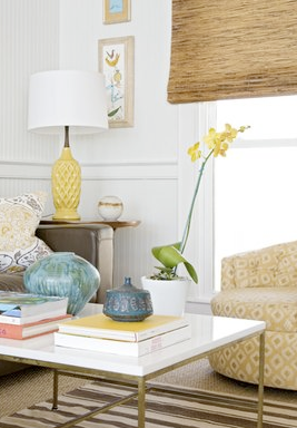Bright Yellow Lamp in Living Room