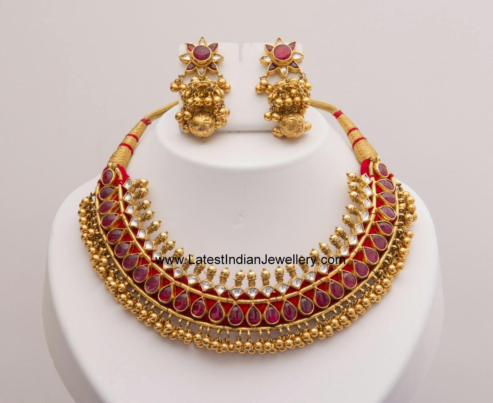 Tussi gold balls kundan necklace