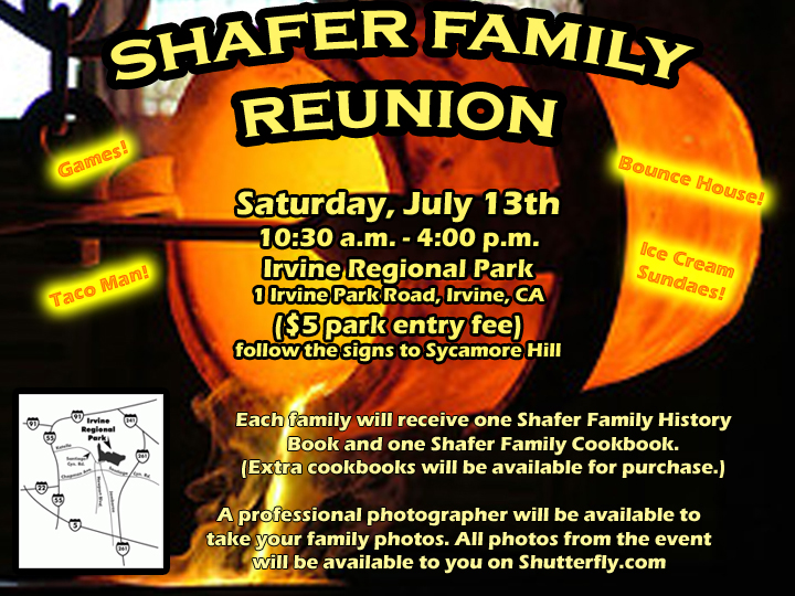 Shafer Family Reunion  Family Reunion Flyer