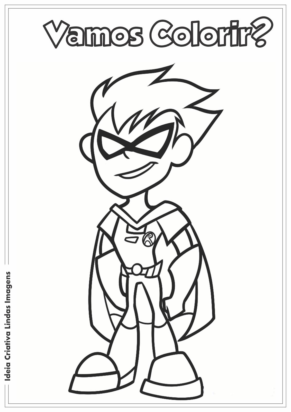 Jovens Titãs em Ação! - Robin desenho pra colorir
