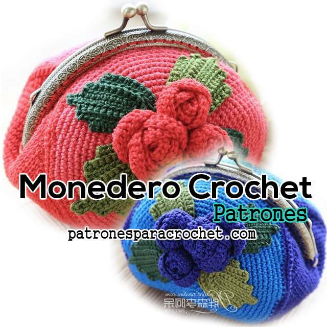 Patrones de monedero crochet con rosas rococó