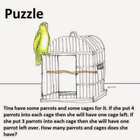Tina has some parrots and some cages