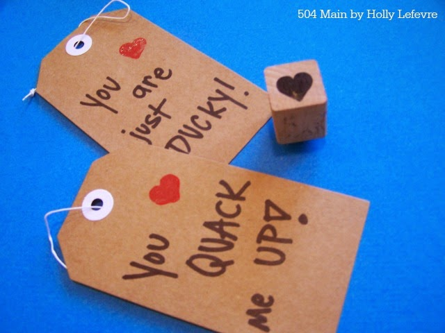 stamp a simple heart on each tag for fun