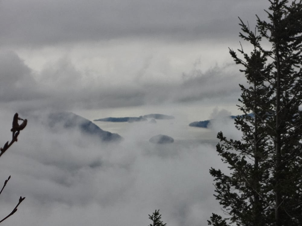 Foggy pictures of Howe Sound from Brunswick Mountain