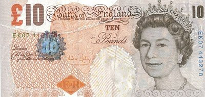 UK £10 note banknote