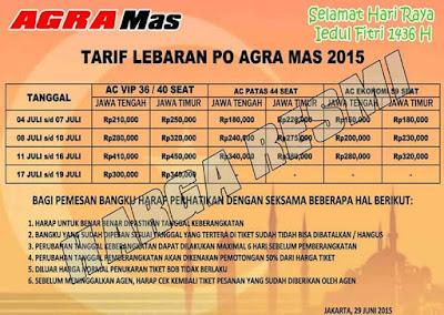 Harga Tiket Bus Agra Mas Lebaran 2015