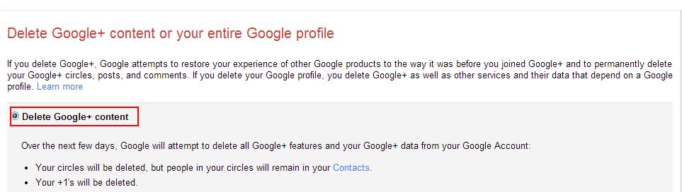 Step 2: Delete Google+ Content