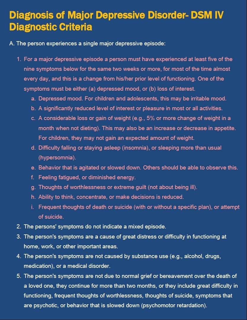 major unipolar depressive disorder essay
