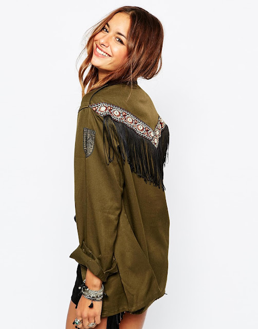 milk it shirt, khaki fringed shirt,