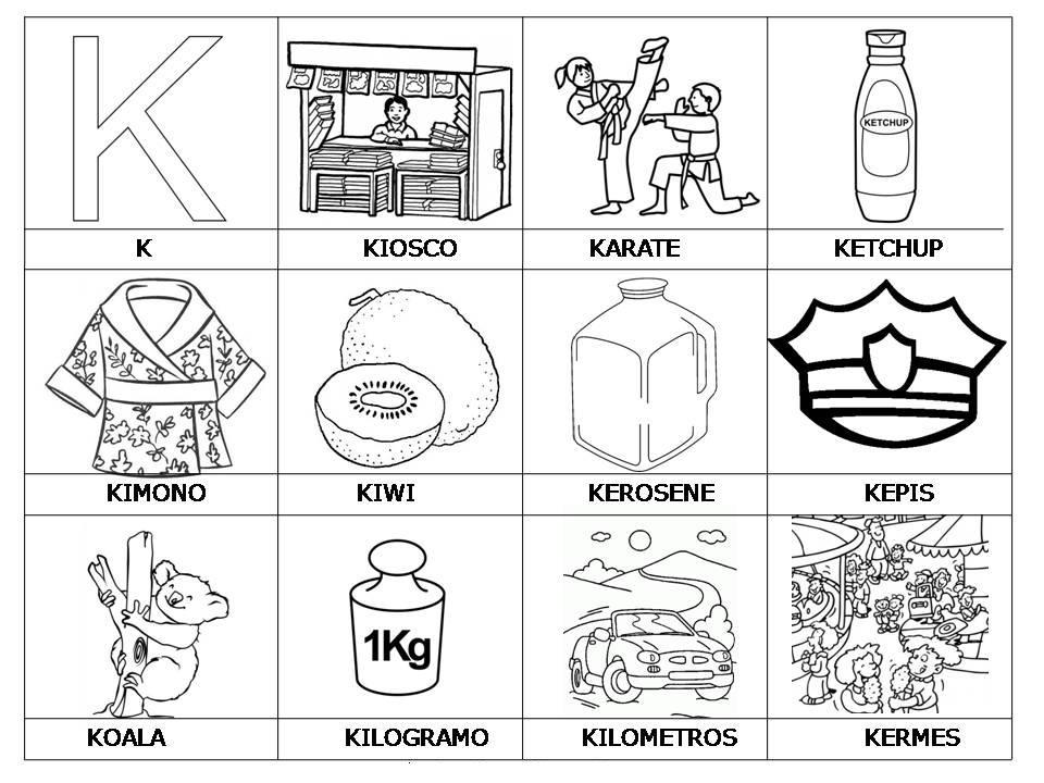 Laminas con dibujos para aprender palabras y colorear con letra: K ...