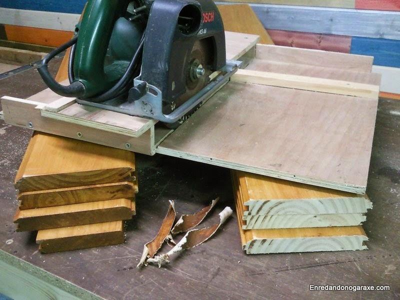 Recortar las tablas con plantilla para sierra de disco. Enredandonogaraxe.com