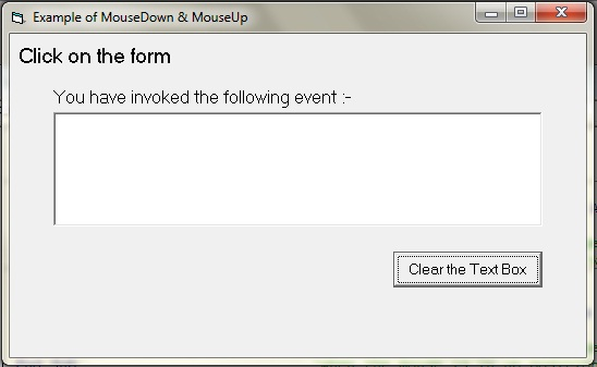 sample program to show MouseDown & MouseUp events