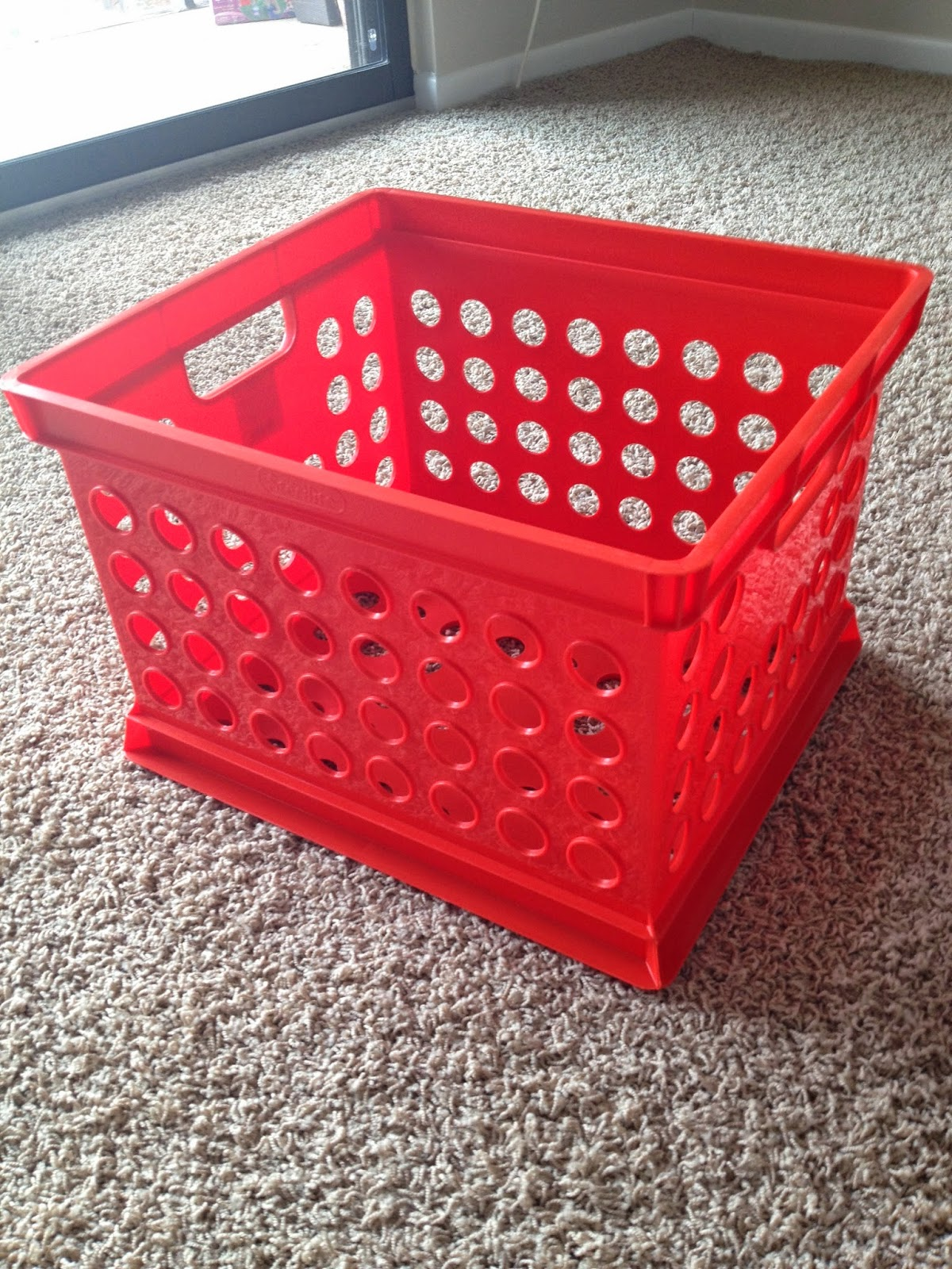 Milk Crates! I Found Mine At Target For About $4 Each. They Came In A Few  Colors (red, Teal, Pink, White, And Black) I Chose Red For My Crates  Because My ...