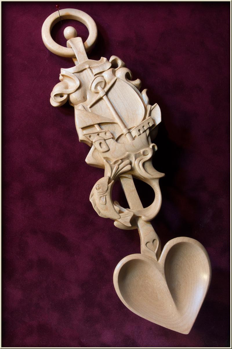 Whimsical wood ship horse lovespoon