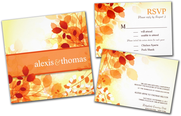 Beautiful Fall Leaves Wedding Invitations