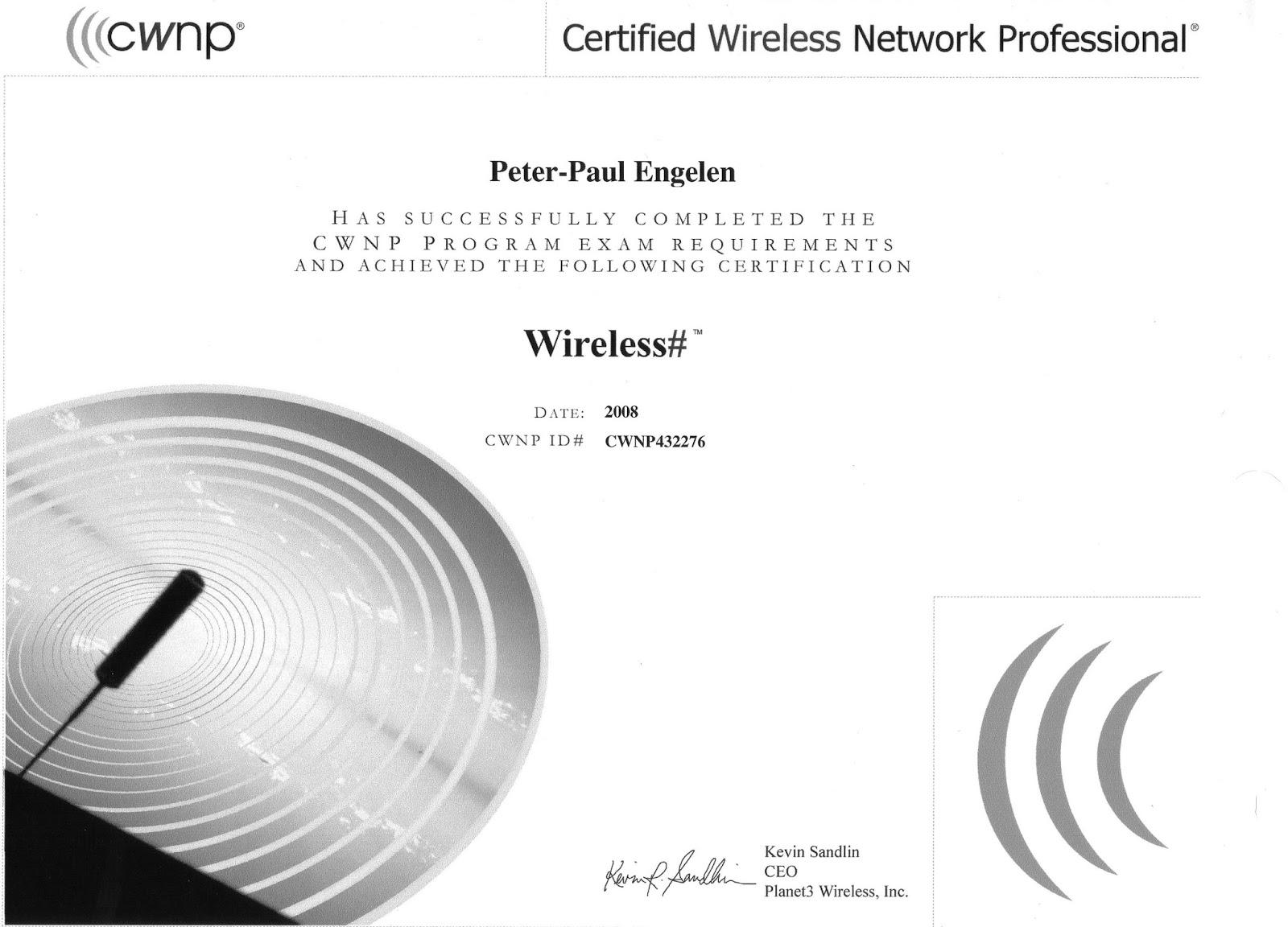 The Dutch Wifi Fella My Cwnp Certification Path Information