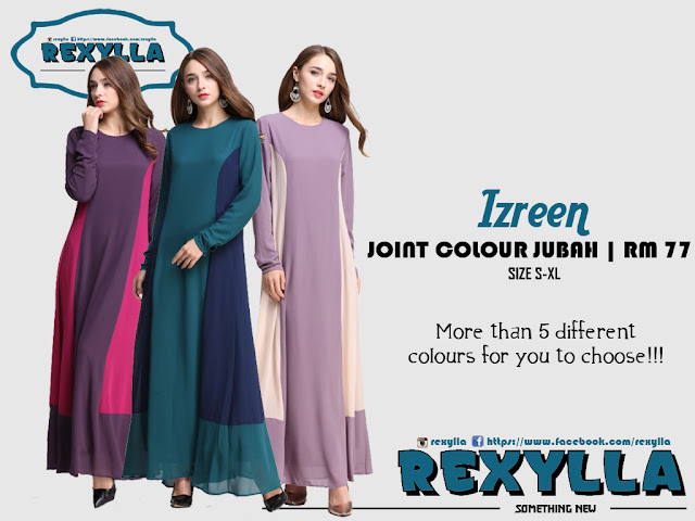 rexylla, jubah, joint colour, izreen collection