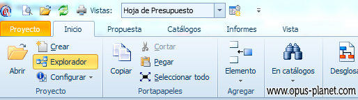 OPUS PLANET Ribbon estándar de Microsoft Office 2010