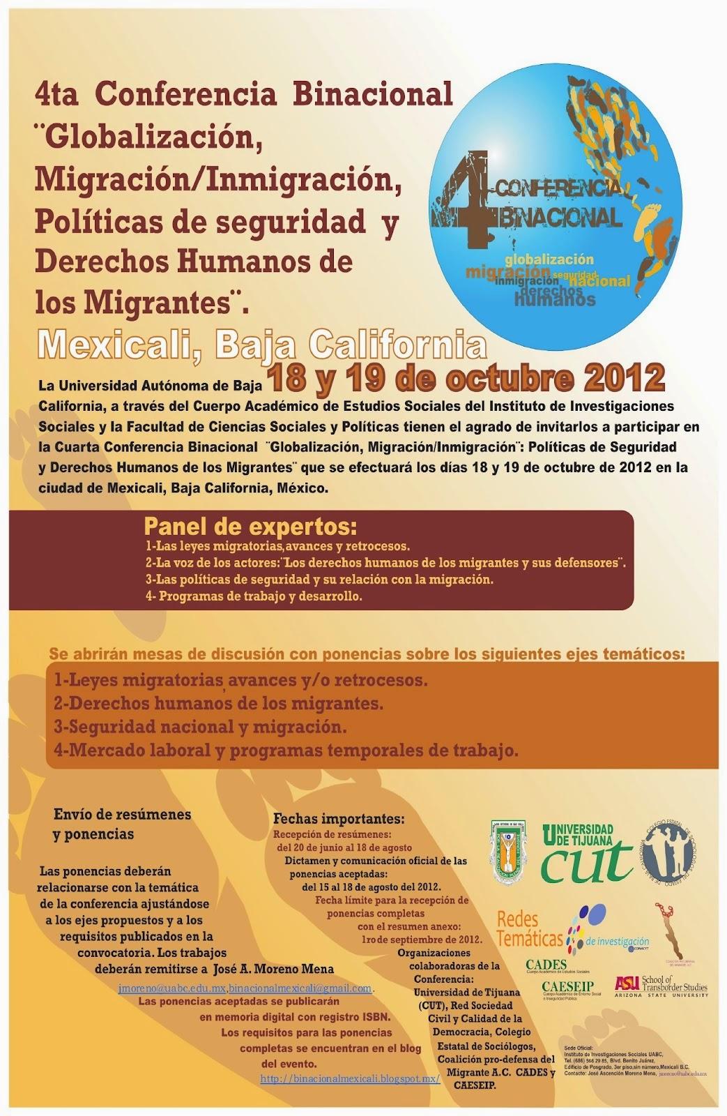 Convocatoria Cuarta Conferencia Binacional de Migración, 2012