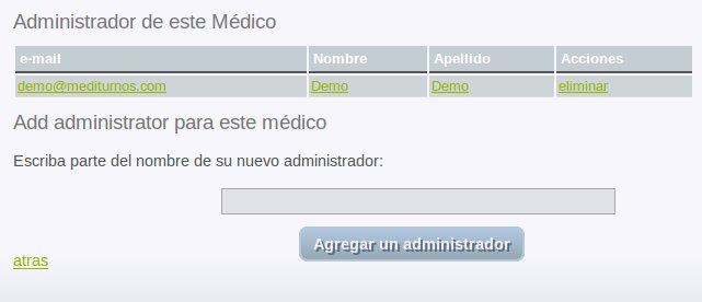 Listado de administradores del médico