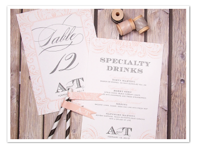 flourished printable diy drink menu table number design