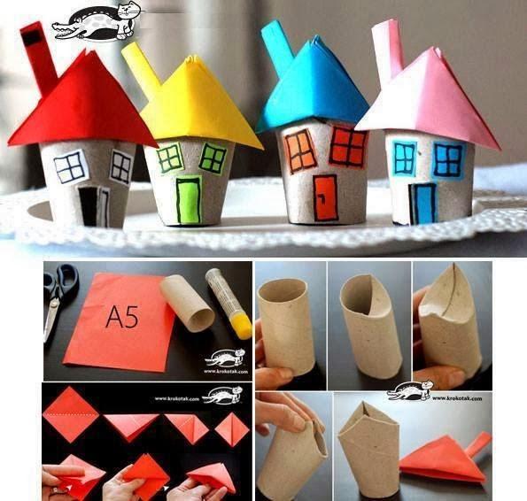 Σπιτάκια από ρολά χαρτιού-crafts for kids