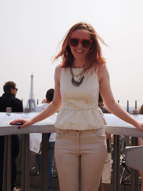 Arc de Triomphe white and gold peplum chinos Eiffel Tower