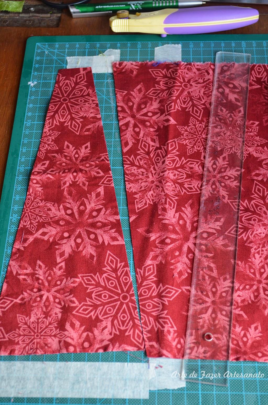 Saia para árvore de natal em patchwork | cortando as laterais