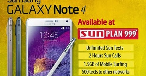 Samsung galaxy note 4 offered at sun plan 999 howtoquick net for Sun mobile plan