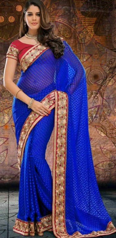 Brasso Blue Designer Embroidery Saree with Unstitched Blouse