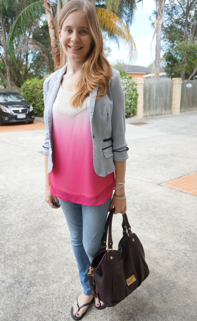 Pinstripe blazer casual outfit ombre tank skinnies Marc by Marc Jacobs Fran Bag