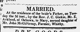 E. Arkland - Marriage Announcement - Appeared in Whitby Reporter, 7 Jun 1851, p. 2