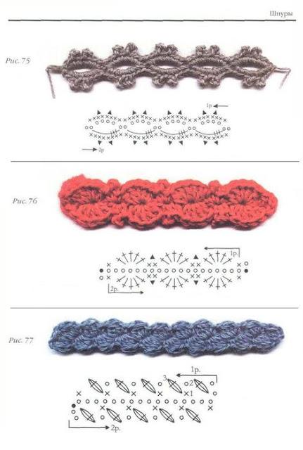 Фото схемы вязаных крючком шнуров
