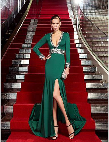 Vestido Verde Oscuro con Escote en V