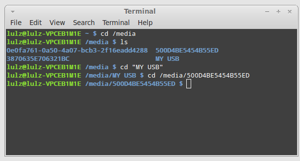How to change directory and transfer files to USB in the command line