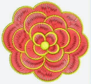 Rooi kleur borduurwerk appliekwerk
