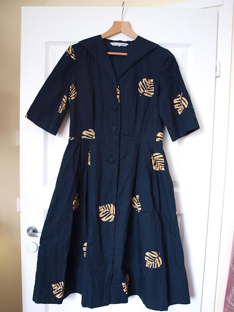 50's 60's vintage pattern shirtwaist dress Immonen