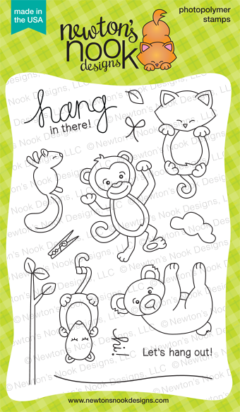 Hanging Around 4x6 hanging animals stamp set | Newton's Nook Designs
