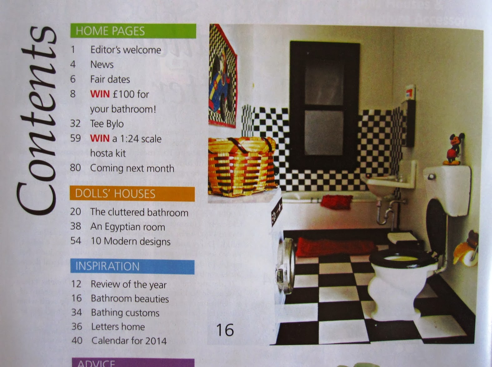Contents page of the January 2014 issue of The Dolls' House Magazine showing a picture of my miniature Mickey bathroom