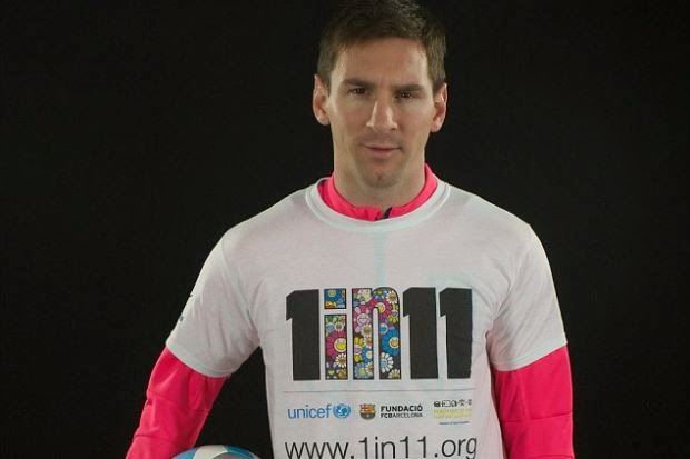 "Messi, Serena Lancar Kempen ""1 Dalam 11"" , lionel messi, serena williams, info, terkin, sukan, Unicef"
