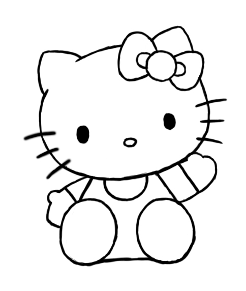 Line Drawing Kitty : Hello citi cartoon line drawings search results