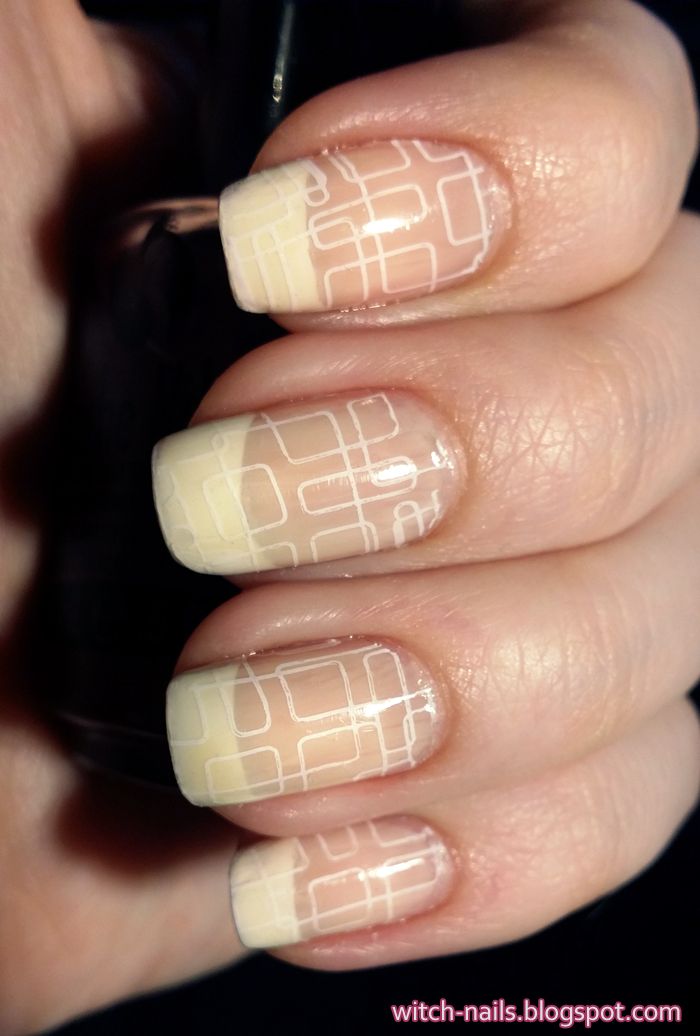 BP-42 BP42 french manicure stamped with white squares